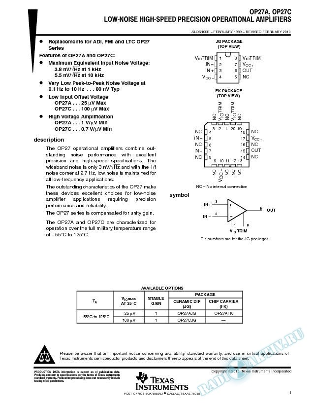 Low-Noise High-Speed Precision Operational-Amplifier (Rev. E)