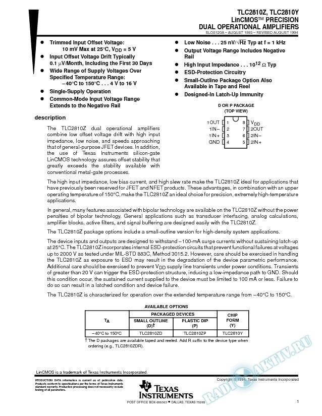 LinCMOS Precision Dual Operational Amplifiers (Rev. A)