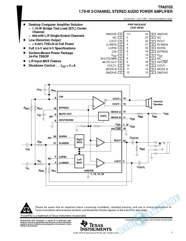 3-Channel Audio Power Amplifier Stereo Single-Ended 500-mW and Mono BTL 1.75W (Rev. A)