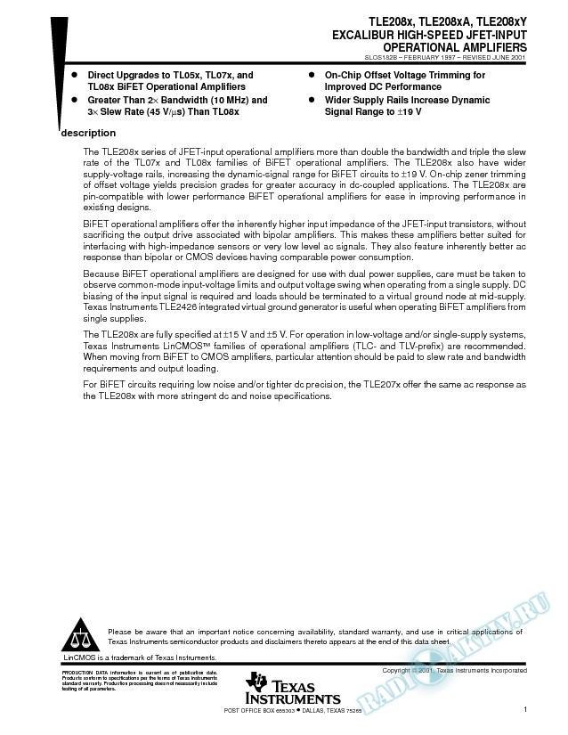 Excalibur High-Speed JFET-Input Op Amps (Rev. B)