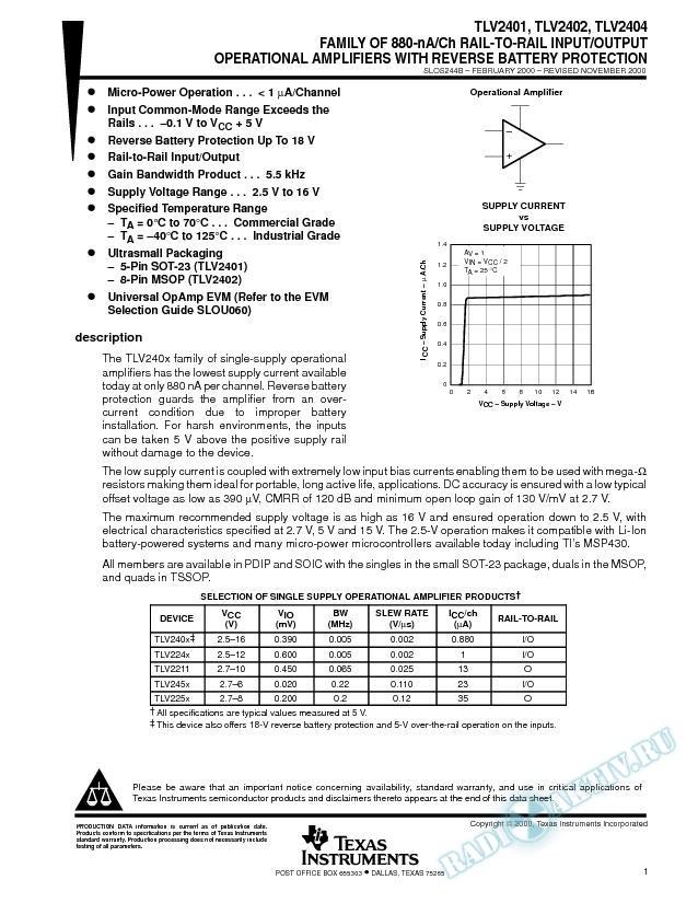 Family of 880-nA/CH Rail-to-Rail I/O Op Amp w/ Reverse Batt Protection (Rev. B)