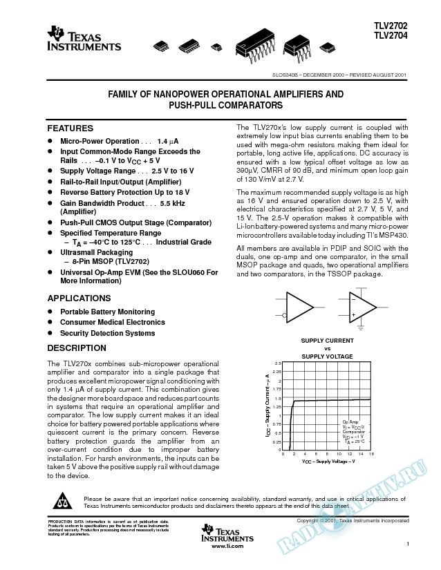 Family of Nanopower Op Amps and Push-Pull Comparators (Rev. B)