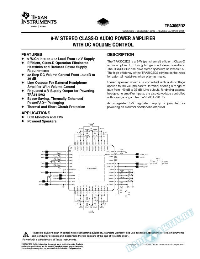 9-W Stereo Class-D Audio Power Amplifier w/DC Volume Control (Rev. C)