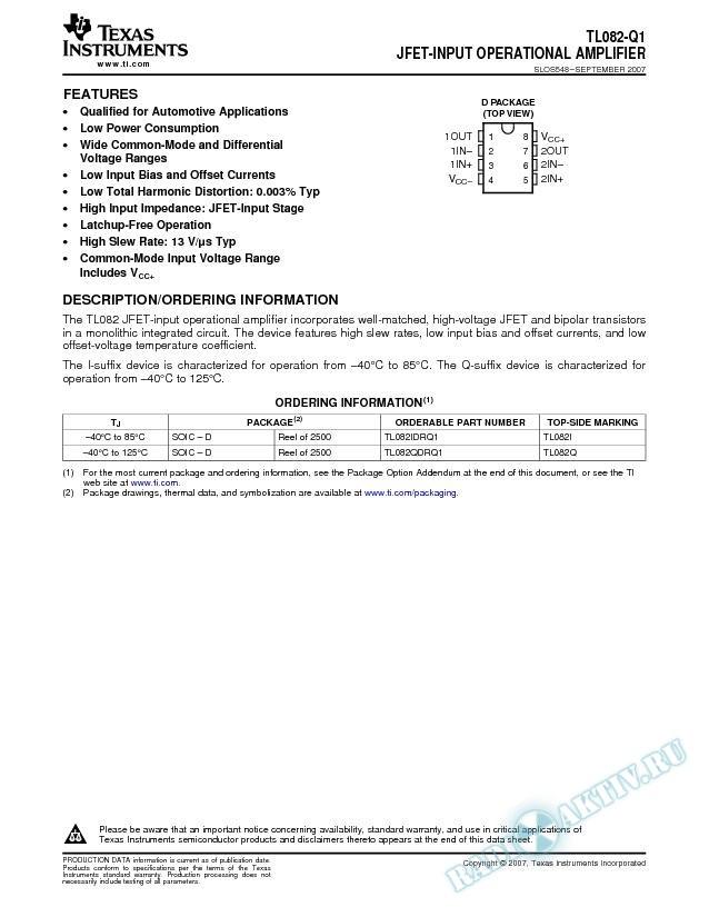 JFET-Input Operational Amplifier