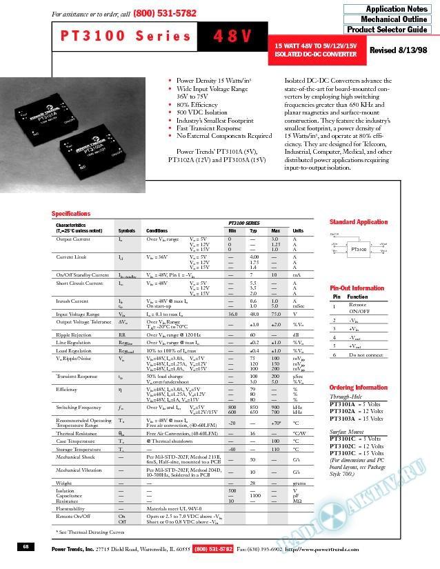 15 Watt, 48V to 5V/12V/15V Isolated DC-DC Converter
