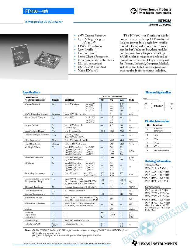 15 Watt, 48V Isolated DC-DC Converter (Rev. A)