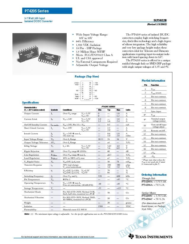 3-7 Watt, 24V Input Isolated DC-DC Converter (Rev. B)
