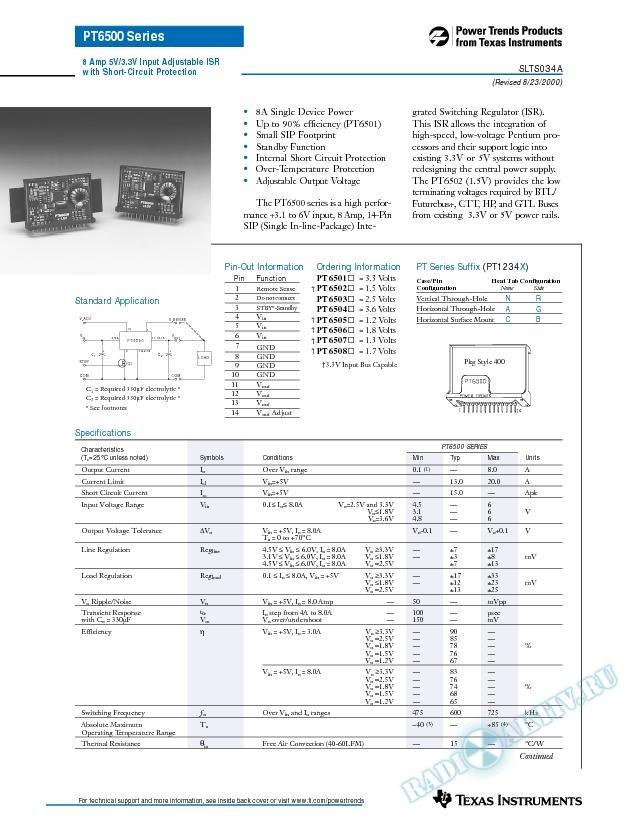 8 Amp 5V/3.3V Input Adjustable ISR with Short-Circuit Protection (Rev. A)