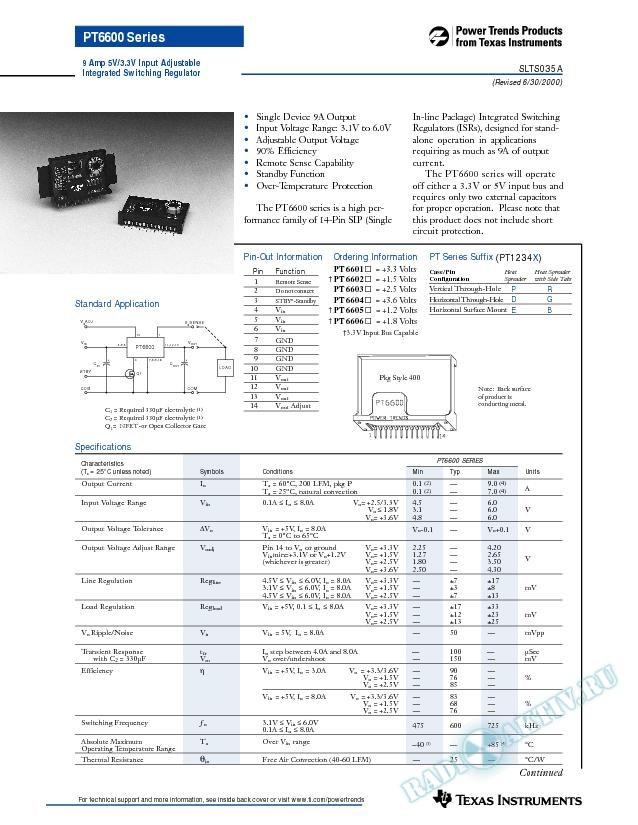 9 Amp Adjustable Integrated Switching Regulator (Rev. A)