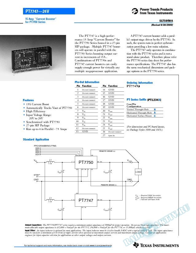 15 Amp Current Booster for PT7750 Series (Rev. A)