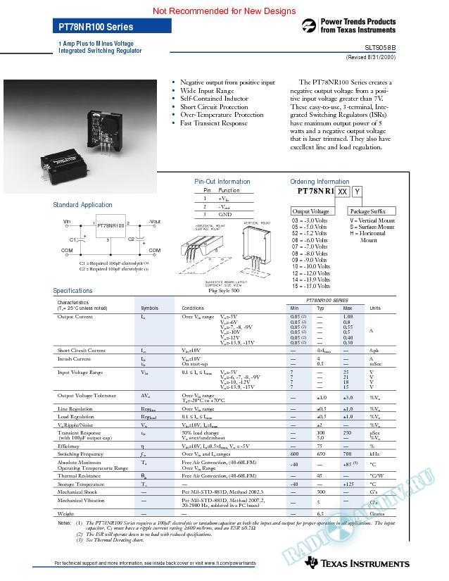 1 Amp Plus to Minus Voltage Integrated Switching Regulator (Rev. B)