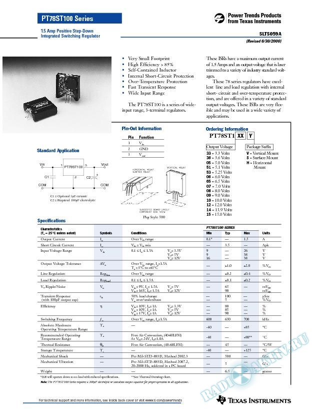 1.5 Amp Positive Step-Down Integrated Switching Regulator (Rev. A)
