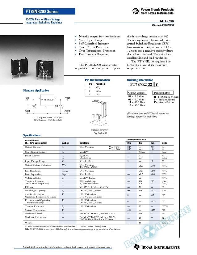 10-12W Plus to Minus Voltage Integrated Switching Regulator (Rev. A)