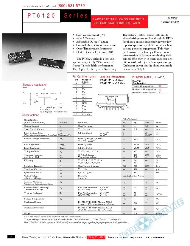 1-A Adjustable Low-Voltage Input Integrated Switching Regulator