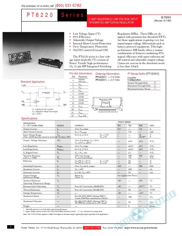 2-A Adjustable Low-Voltage Input Integrated Switching Regulator