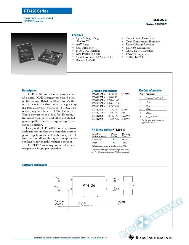 20 Watt 48 V Input Isolated DC-DC Converter (Rev. B)