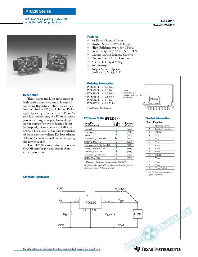 8-A 5-V/3.3-V Input-Adjustable ISR with Short Circuit (Rev. A)