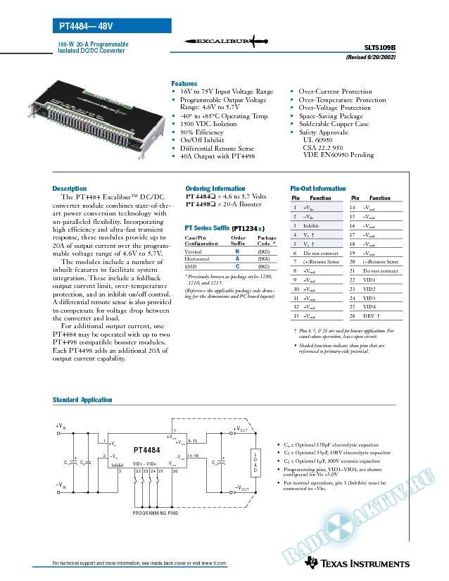 100 Watt 5 V 20 Amp Programmable Isolated DC-DC Converter (Rev. B)