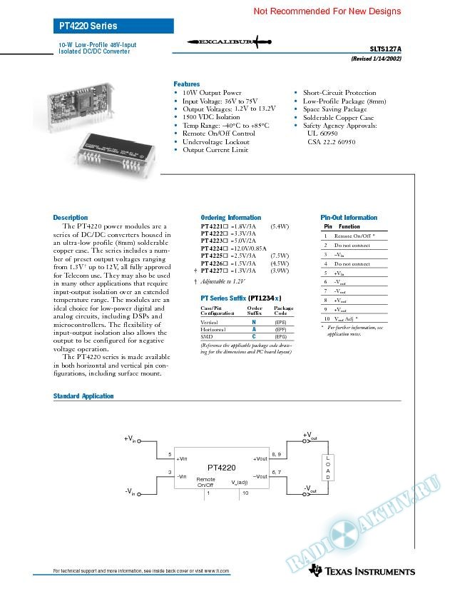 10 Watt Low Profile 48V-Input  Isolated DC-DC Converter (Rev. A)