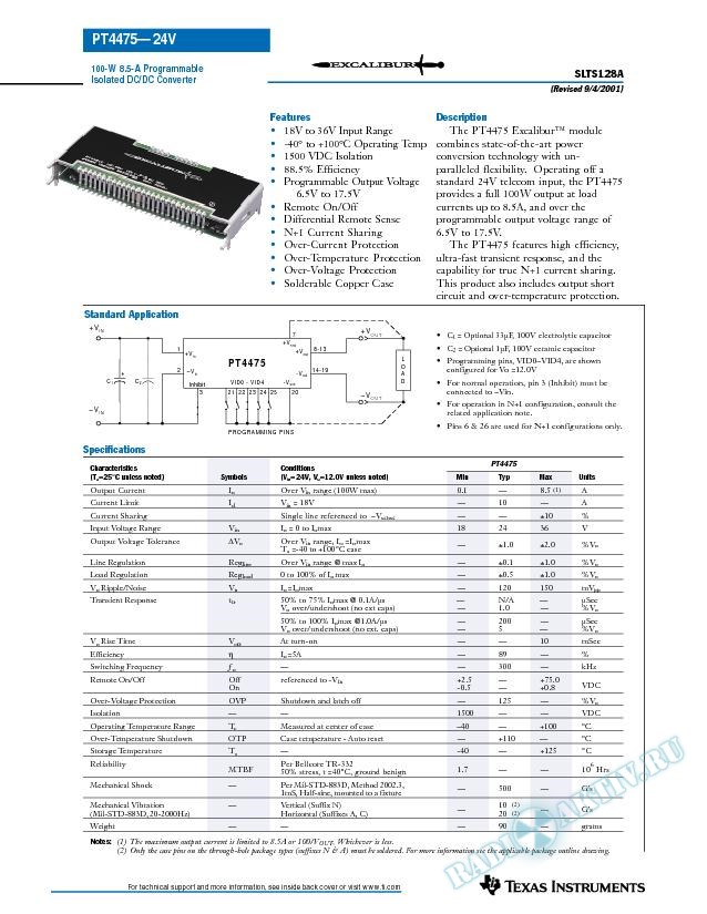100 Watt 8.5A Programmable Isolated DC-DC Converter (Rev. A)