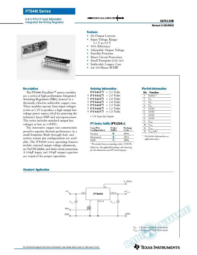 6 Amp 5V/3.3V Input Adjustable Integrated Switching Regulator (Rev. B)