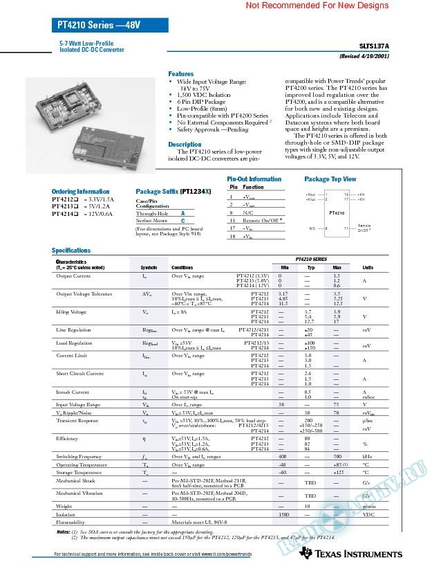 5-W to 7-W Low-Profile Isolated DC-DC Converter (Rev. A)