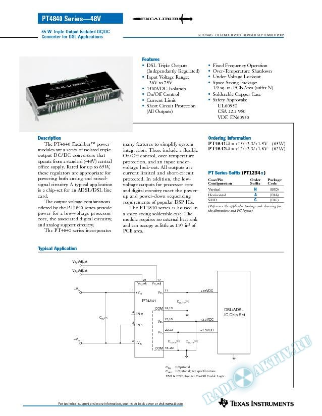 64-W Triple Output Isolated DC-DC Converter for DSL Applications (Rev. C)