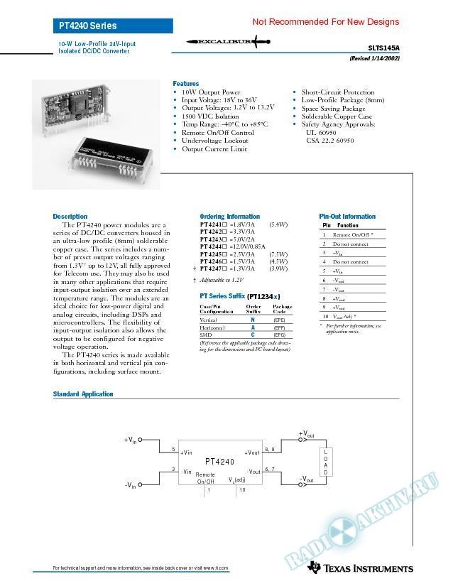 10 Watt Low Profile 24V-Input Isolated DC-DC Converter (Rev. A)