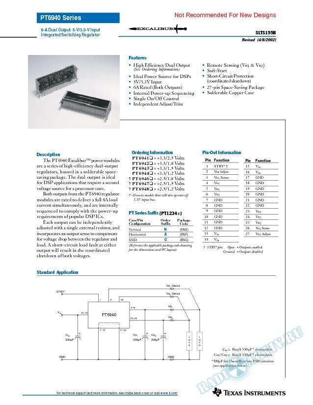 6-A Dual Output 5-V/3.3-V Input Integrated Switching Regulator (Rev. B)