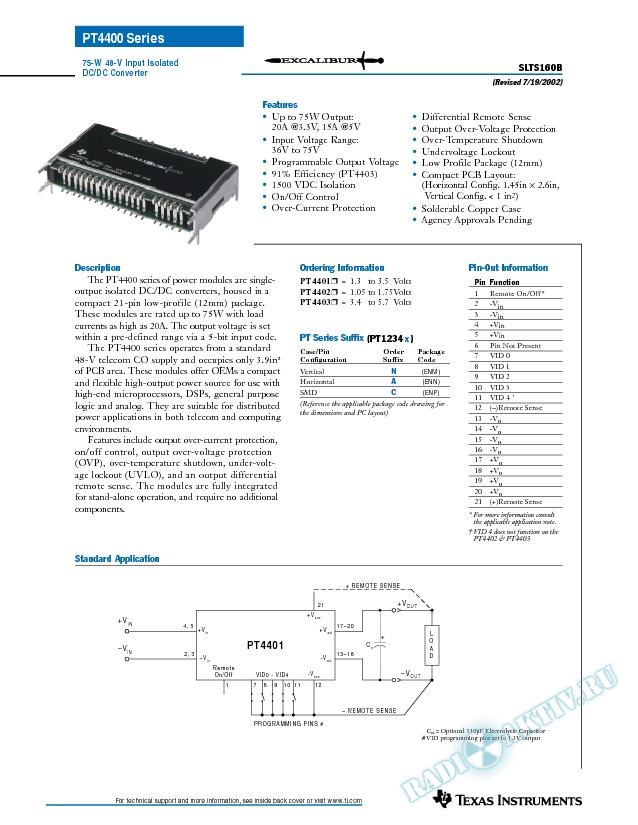 75-Watt 48V-Input Isolated DC/DC Converter (Rev. B)