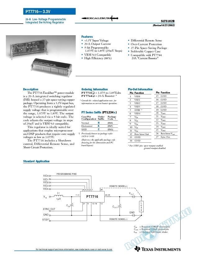 20-A Low-Voltage Programmable Integrated Switching Regulator (Rev. B)