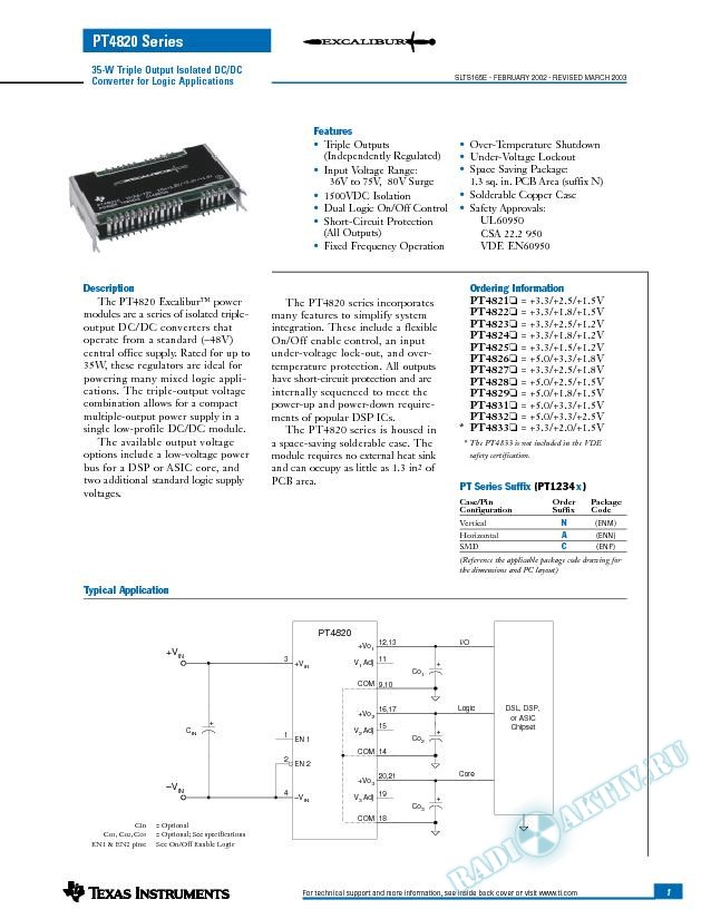 35-W Triple Output Isolated DC/DC Converter for Logic Applications (Rev. E)