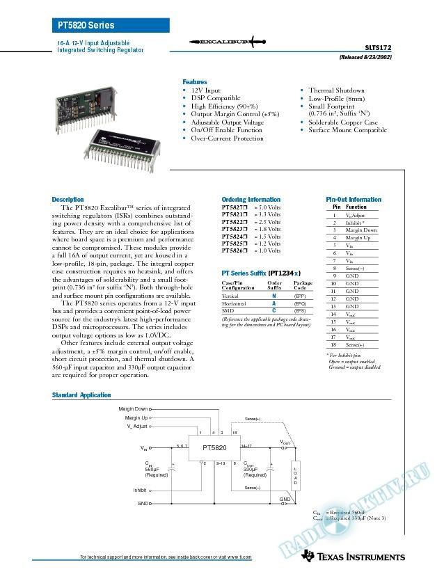 16-A, 12-V Input Adjustable Integrated Switching Regulator