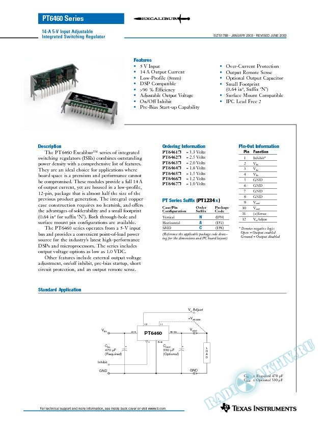 PT6460: 14-A 5-V Input Adjustable Integrated Switching Regulator (Rev. B)