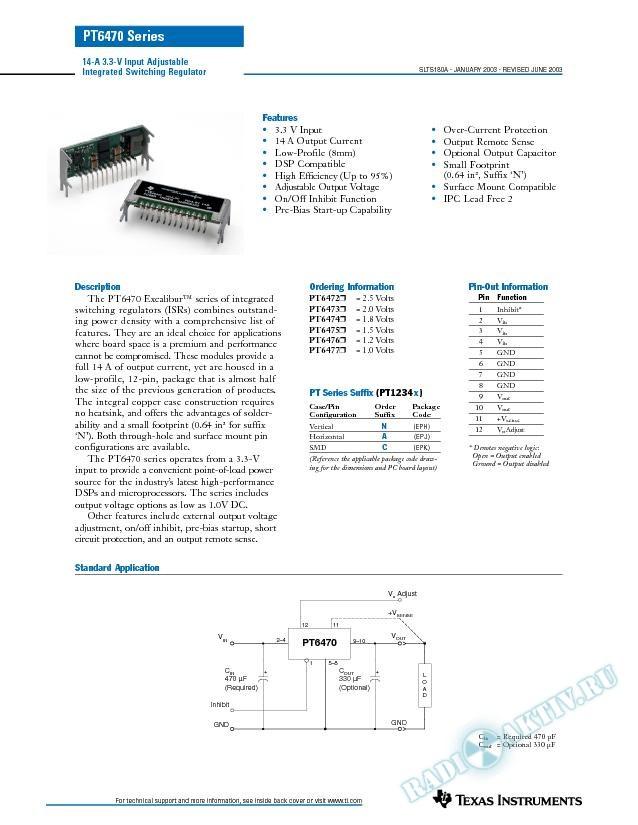 PT6470: 14-A 3.3-V Input Adjustable Integrated Switching Regulator (Rev. A)