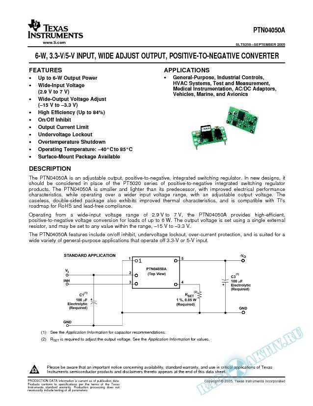 6-W 3.3/5-V Input Wide Adjust Output Positive-to-Negative Converter