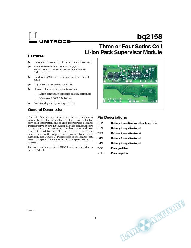 Three or Four Series Cell Li-Ion Pack Supervisor Module