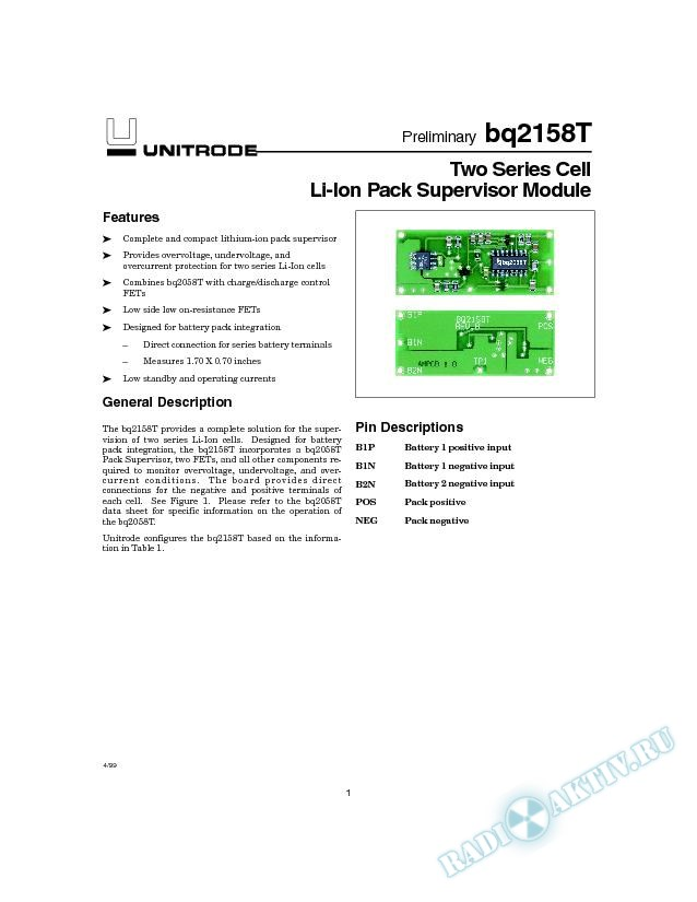 Two Series Cell Li-Ion Pack Supervisor Module
