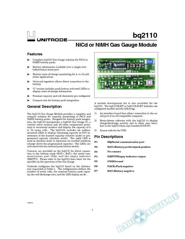 NiCD or NiMH Gas Gauge Module