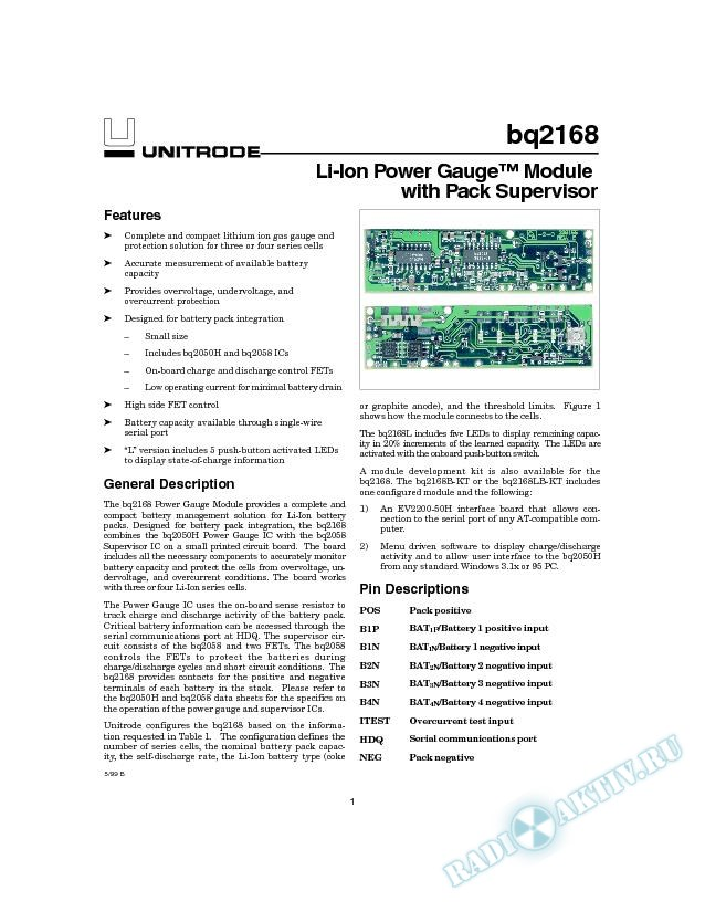 Li-Ion Power Gauge Module with Pack Supervisor
