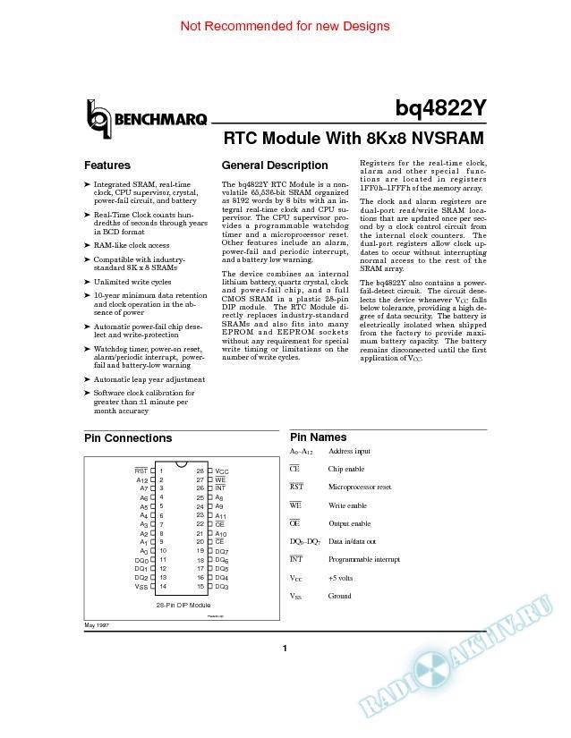 RTC Module With 8Kx8 NVSRAM