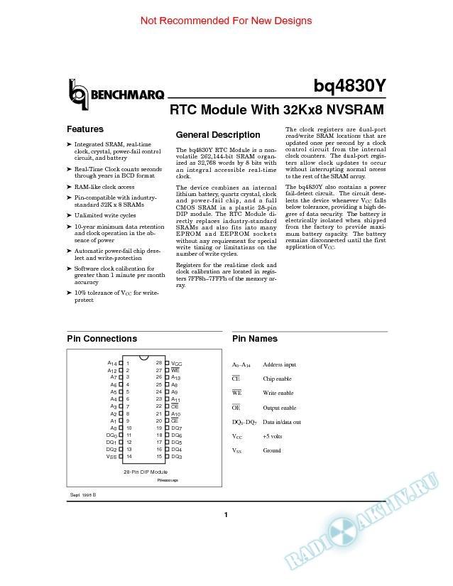 RTC Module With 32Kx8 NVSRAM