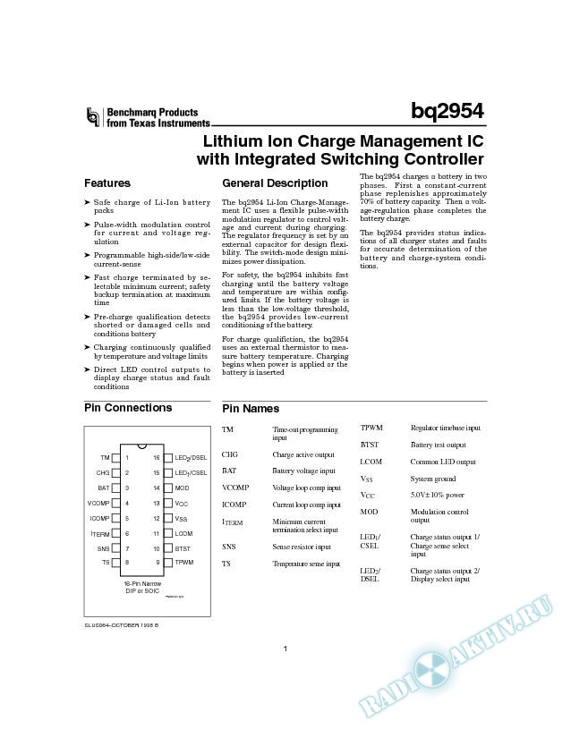 Lithium Ion Charge Management IC with Integrated Switching Controller