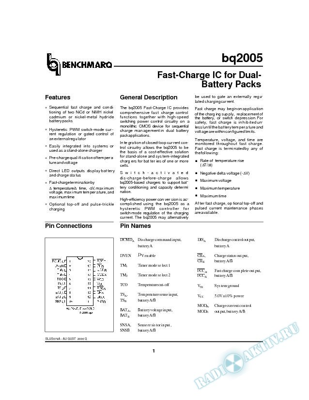 Fast-Charge IC for Dual-Battery Packs (Rev. A)