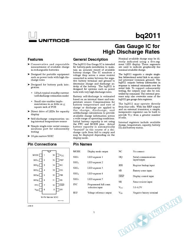 Gas Gauge IC for High Discharge Rates (Rev. A)