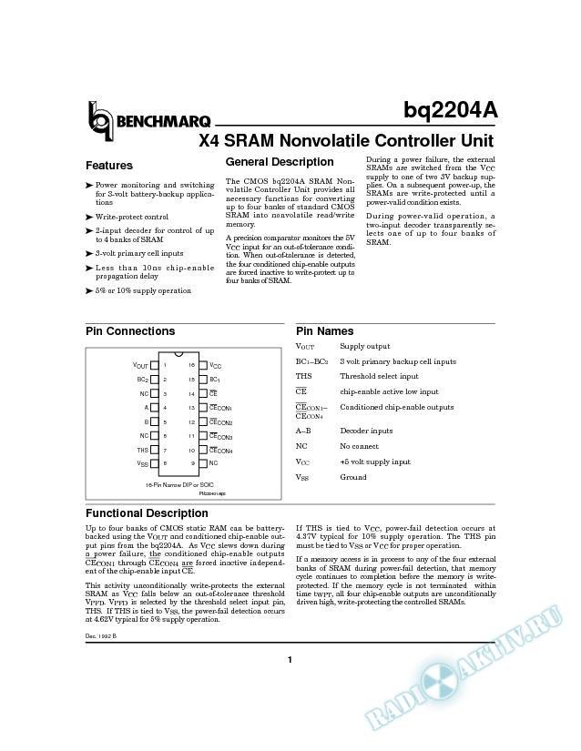 X4 SRAM Nonvolatile Controller Unit