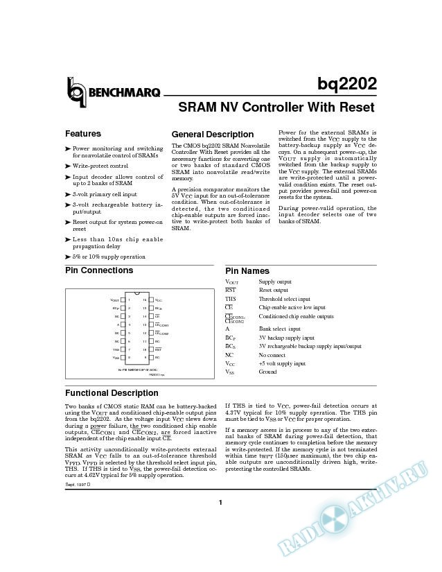 SRAM NV Controller with Reset