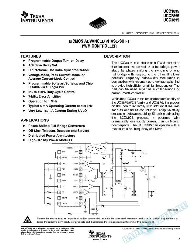 BiCMOS Advanced Phase Shift PWM Controller. (Rev. O)