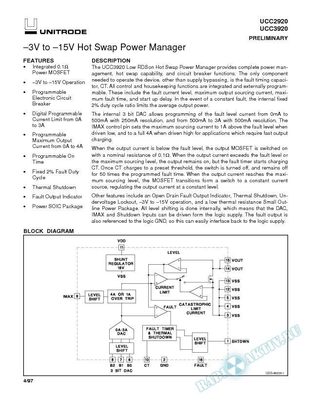 -3V to -15V Hot Swap Power Manager