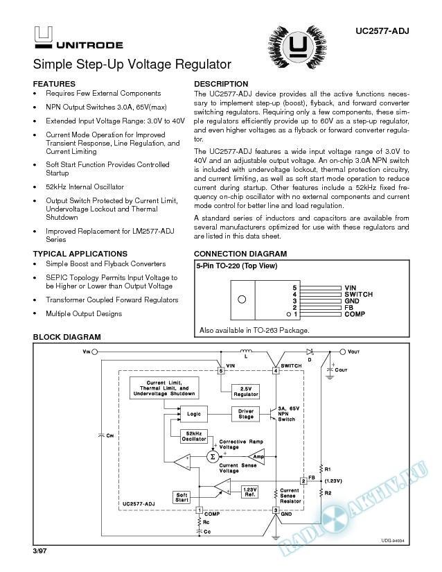 UC2577-ADJ: Simple Step-Up Voltage Regulators (Rev. A)